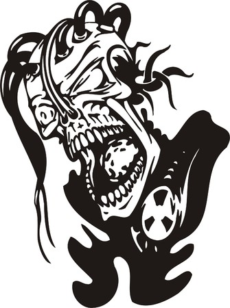 Cyber Skull - illustration. Ready for vinyl cutting. Stock Vector - 8132183