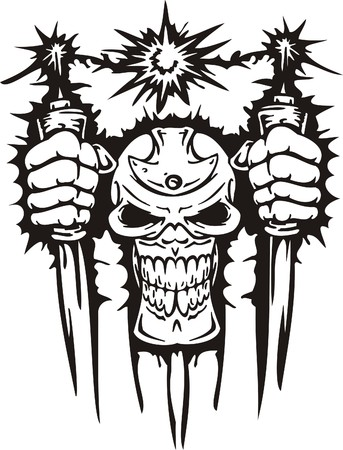 skull tattoo: Cyber Skull - illustration. Ready for vinyl cutting.