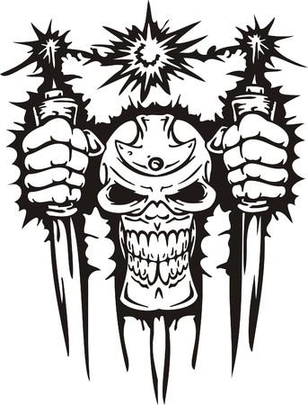 calavera: Cyber Skull - ilustraci�n. Listo para el corte de vinilo.
