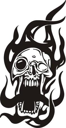 Cyber Skull - illustration. Ready for vinyl cutting. Stock Vector - 8132076