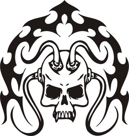 Cyber Skull - illustration. Ready for vinyl cutting. Stock Vector - 8132079
