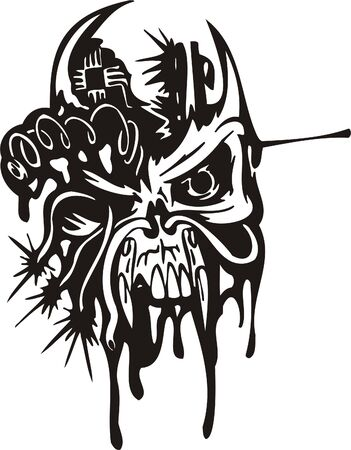 Cyber Skull - illustration. Ready for vinyl cutting. Stock Vector - 8132137