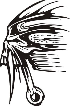 danger skull: Cyber Skull - illustration. Ready for vinyl cutting.