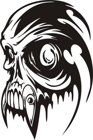 Cyber Skull - illustration. Ready for vinyl cutting. Stock Vector - 8132147
