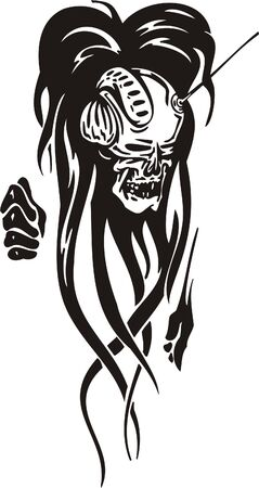 Cyber Skull - illustration. Ready for vinyl cutting. Stock Vector - 8132087
