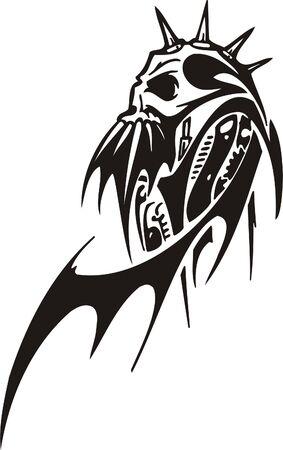 Cyber Skull - illustration. Ready for vinyl cutting. Stock Vector - 8132132