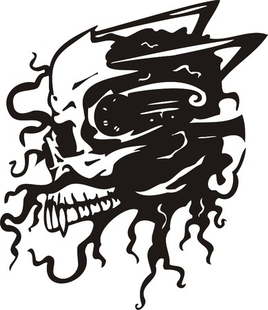 Cyber Skull - illustration. Ready for vinyl cutting.  Vector