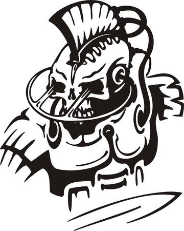 Cyber Skull - illustration. Ready for vinyl cutting. Stock Vector - 8132105