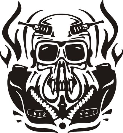 Cyber Skull - illustration. Ready for vinyl cutting. Stock Vector - 8132085