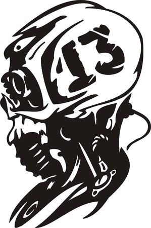 Cyber Skull - illustration. Ready for vinyl cutting.  Stock Vector - 8132136