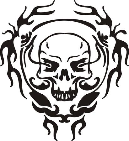 Cyber Skull - illustration. Ready for vinyl cutting. Stock Vector - 8132077
