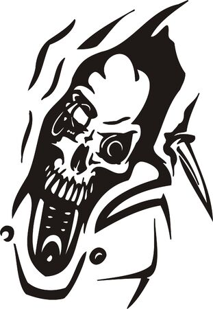 Cyber Skull - illustration. Ready for vinyl cutting.  Stock Vector - 8132180