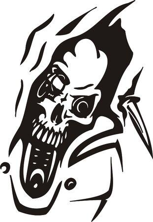 Cyber Skull - illustration. Ready for vinyl cutting. Stock Vector - 8132180