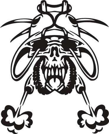 Cyber Skull - illustration. Ready for vinyl cutting.  Stock Vector - 8132140