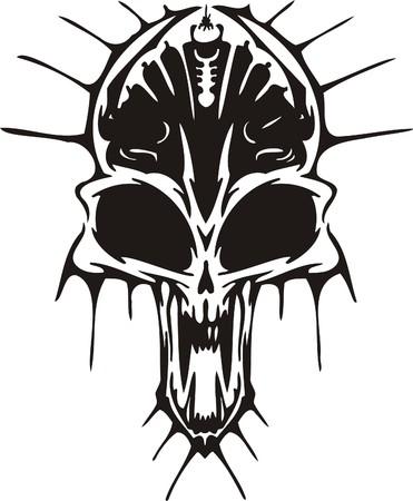 alien clipart: Cyber Skull - illustration. Ready for vinyl cutting.