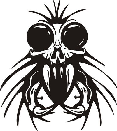 Cyber Skull - illustration. Ready for vinyl cutting. Stock Vector - 8132078