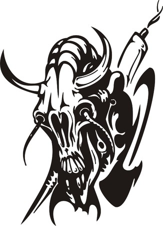 Cyber Skull - illustration. Ready for vinyl cutting. Stock Vector - 8132187