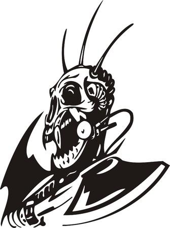 Cyber Skull - illustration. Ready for vinyl cutting.