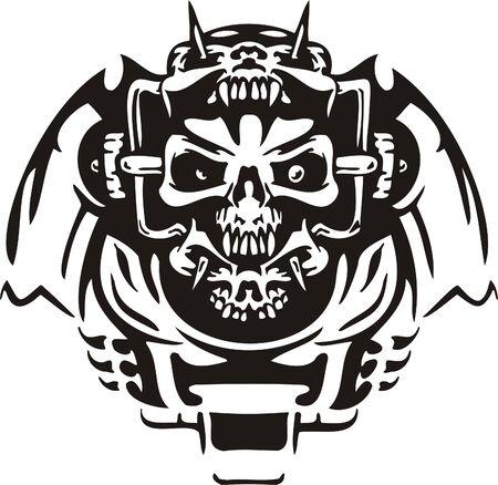 Cyber Skull - illustration. Ready for vinyl cutting. Stock Vector - 8132080