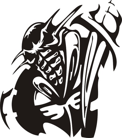 Cyber Skull - illustration. Ready for vinyl cutting. Stock Vector - 8132075