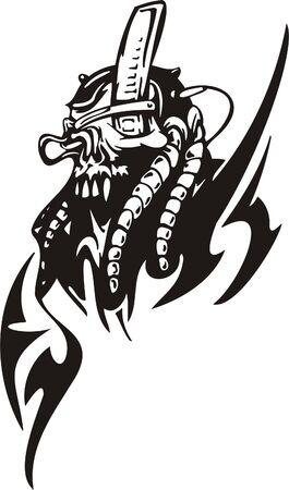 alien head: Cyber Skull - illustration. Ready for vinyl cutting.