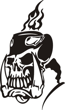 Cyber Skull - illustration. Ready for vinyl cutting. Stock Vector - 8132106