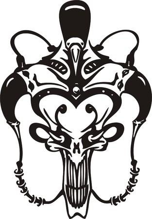Cyber Skull - illustration. Ready for vinyl cutting. Stock Vector - 8132188