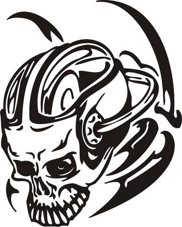 Cyber cráneo - ilustración. Para realizar el corte de vinilo.