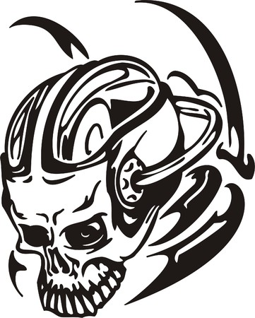 Cyber Skull - illustration. Ready for vinyl cutting.  Stock Vector - 8132090