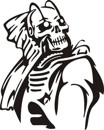 Cyber Skull - illustration. Ready for vinyl cutting. Stock Vector - 8132129