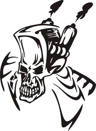 Cyber Skull - illustration. Ready for vinyl cutting.  Stock Vector - 8132189