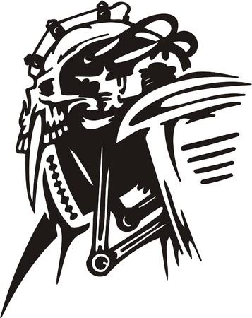 Cyber Skull - illustration. Ready for vinyl cutting.  Stock Vector - 8132107