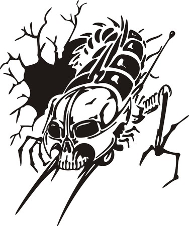 electricity danger of death: Cyber Skull - illustration. Ready for vinyl cutting.