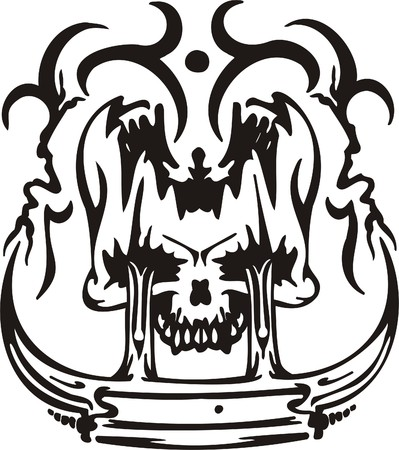 Cyber Skull - illustration. Ready for vinyl cutting.  Stock Vector - 8132083