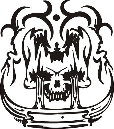 Cyber Skull - illustration. Ready for vinyl cutting. Stock Vector - 8132083