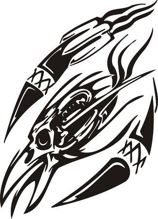 Cyber Skull - illustration. Ready for vinyl cutting.  Vector