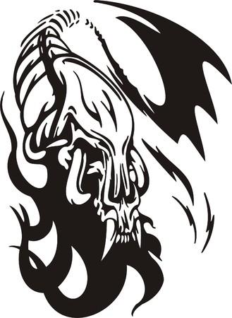 Cyber Skull - illustration. Ready for vinyl cutting. Stock Vector - 8132145