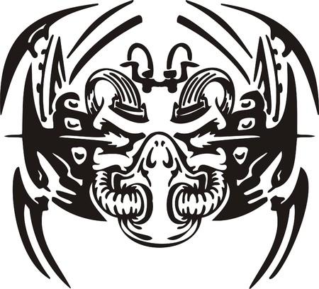 Cyber Skull - illustration. Ready for vinyl cutting. Stock Vector - 8132070