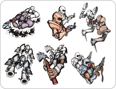cyborg: Cyborg con una espada ardiente en las manos. Cyborgs armados  Vectores