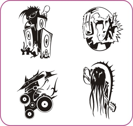 Music and Dances series images. Vector