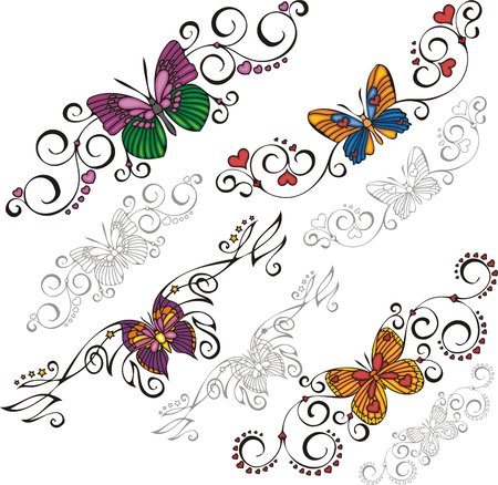 A set of Butterflies and exquisite design elements  Vector