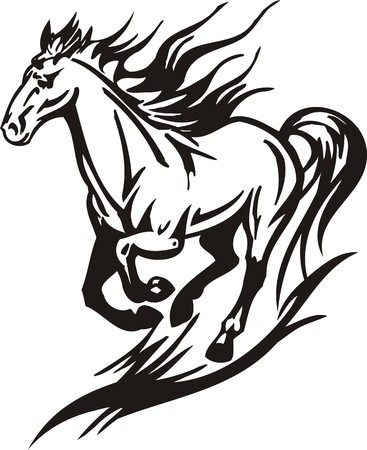 carreras de caballos: Caballo. Ilustraci�n listo para corte de vinilo.  Vectores