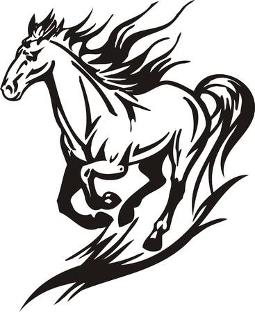 wild hair: Cavallo. illustrazione pronta per il taglio di vinile.