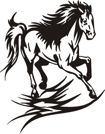 speculative: Horse.  illustration ready for vinyl cutting.