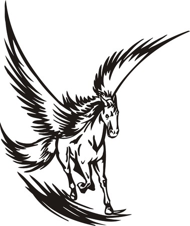 pegaso: Ilustraci�n de caballo listo para corte de vinilo.  Vectores