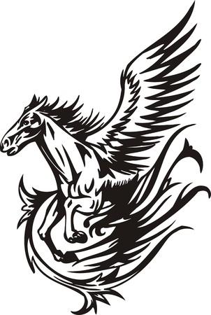 the mane: Horse.  illustration ready for vinyl cutting.