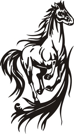 cutting horse: Horse illustration ready for vinyl cutting.