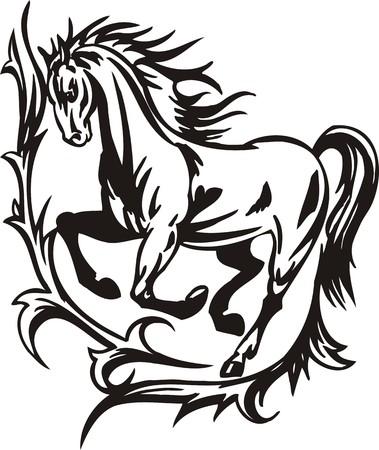 cutting horse: Horse.  illustration ready for vinyl cutting.