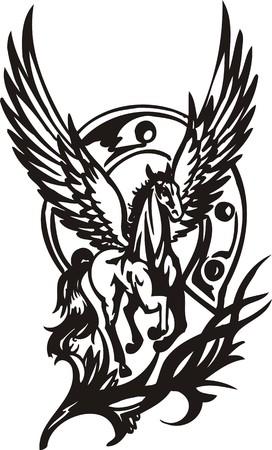 nobility symbol: Horse illustration ready for vinyl cutting.