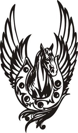 Horse illustration ready for vinyl cutting. Vector